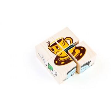 Кубики «Сложи рисунок: Посуда»