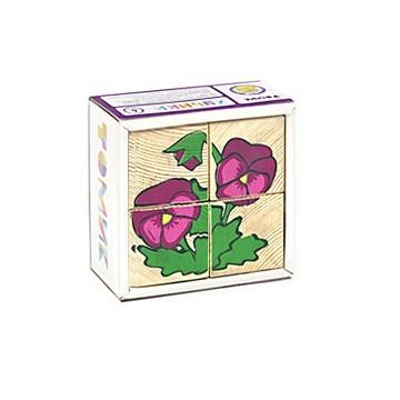 Кубики «Сложи рисунок: Цветы»