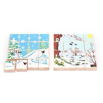 Деревянные пазлы «Времена года» - Зима/Весна