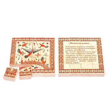 Деревянные пазлы «Русские узоры» - Мезенская роспись
