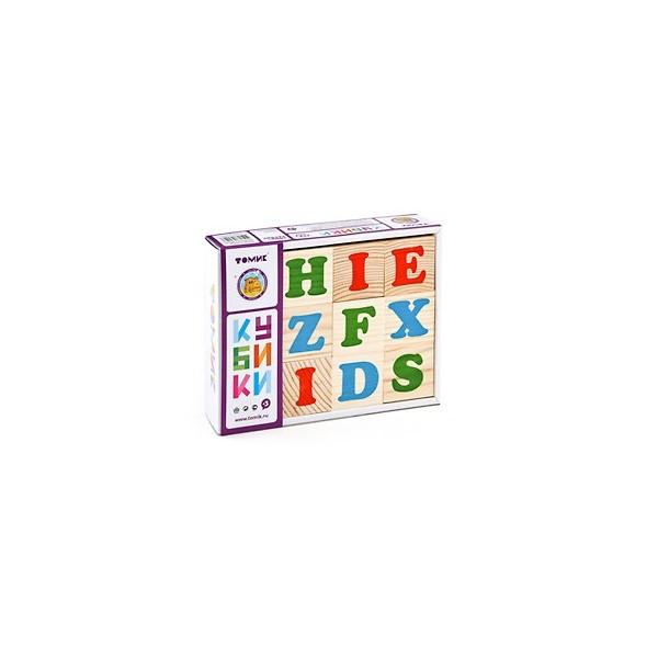 Набор детских деревянных кубиков с английским алфавитом.