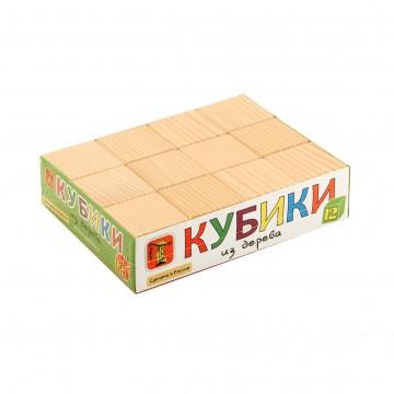 Кубики из дерева (простые) - 12 шт