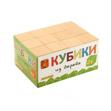 Кубики из дерева (простые) - 24 шт