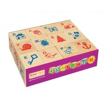 Кубики «Алфавит русский с картинками» - 12 шт