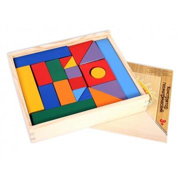 Конструктор геометрический «Построй свой город» 35 в деревянном ящике