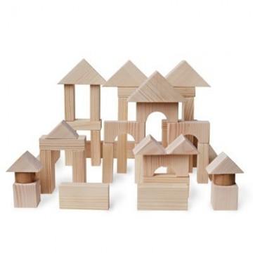 Конструктор геометрический «Построй свой город» 51 в деревянном ящике (неокрашенный)