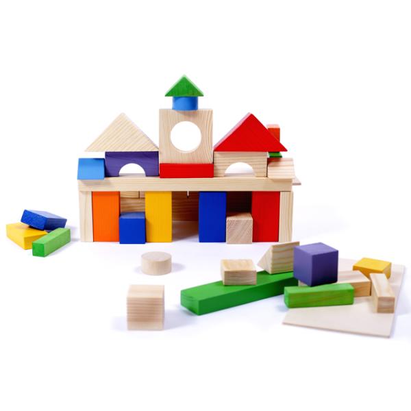 Конструктор геометрический «Построй свой город» 51 в деревянном ящике (20 деталей окрашено)