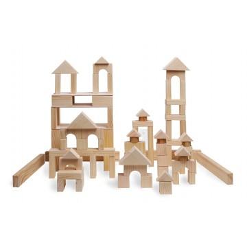Конструктор геометрический «Построй свой город» 85 в деревянном ящике