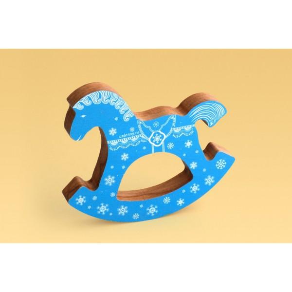 Коник-качалка синий «Рождественский»