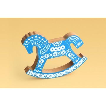 Коник-качалка синий с орнаментом